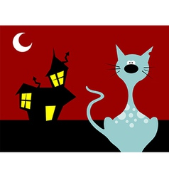 Halloween night cat vector