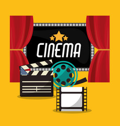 cinema teather reel film clapper and board vector image