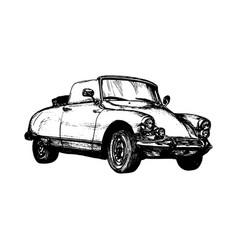 Retro sport car hand sketched vector