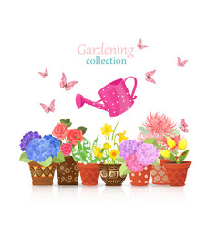 Lovely flowers planted in ethnic flowerpots with vector