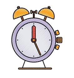 Colored crayon silhouette of antique alarm clock vector