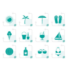 Stylized summer holiday and beach objects vector