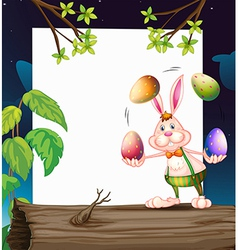 An empty template with a bunny juggling the eggs vector
