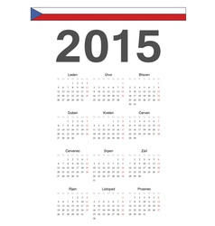 Simple czech 2015 year calendar vector