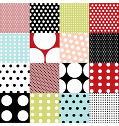 seamless patterns - polka dot set vector image