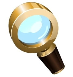 Realistic golden magnifying glass vector
