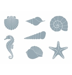 Silhouettes of sea inhabitants vector