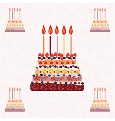 Birthday cake with five candles five years vector