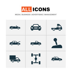 Auto icons set collection of stick van vector