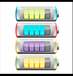 battery symbol color collection set vector image vector image