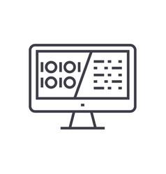 Binary code data encryption linear icon sign vector