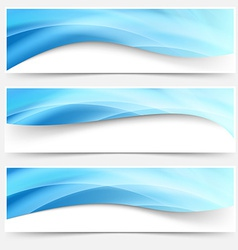 Blue light line headers footers collection vector