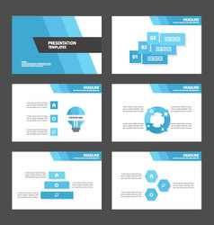 Blue presentation templates infographic elements vector