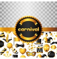 Carnival invitation card with gold icons and vector