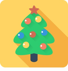 Christmas tree with balls icon flat design vector image vector image