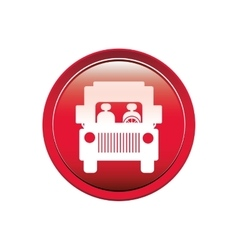 Circular button road sign of bus crossing vector