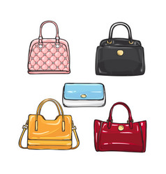Collection of different handbags for women vector