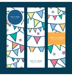 colorful doodle bunting flags vertical banners set vector image