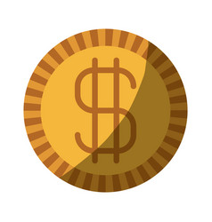 colorful silhouette of coin with money symbol vector image vector image