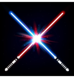 Crossed light swords vector image vector image