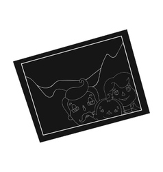 Family photo portrait icon in black style isolated vector