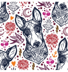 Flash bull terrier dog seamless pattern and eyes vector
