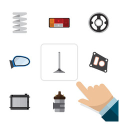 flat icon component set of crankshaft absorber vector image vector image