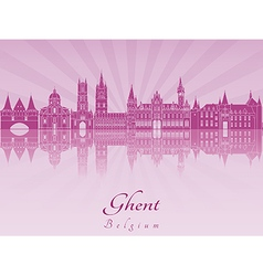 Ghent skyline in purple radiant orchid vector image