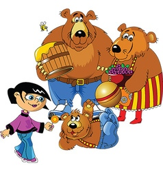 Girl and the three bears vector image vector image