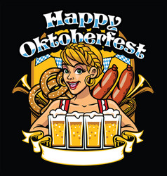 girl of oktoberfest celebrate the party vector image