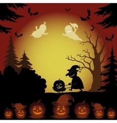 Halloween landscape ghosts pumpkins and witch vector image vector image