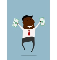 Happy businessman jumping with money vector image vector image