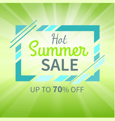 Hot summer sale up to 70 percent promotion poster vector