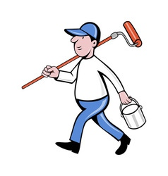 House painter with painting roller paint can vector
