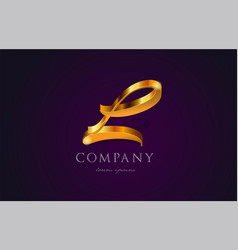 L gold golden alphabet letter logo icon design vector