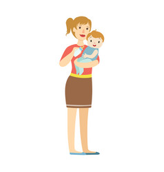 Mather with baby in sling feeding boy with milk vector