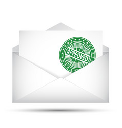 open envelope approved rubber stamp success vector image