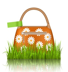 Orange woman spring bag with chamomiles flowers vector