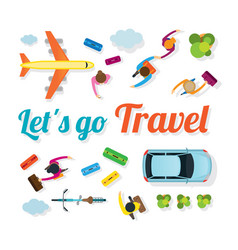 People with vehicles travel vector