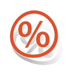 Percent sign sticker orange vector