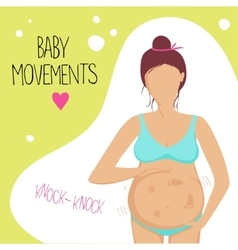 Pregnant woman feels the baby moving inside vector
