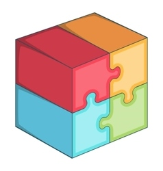 Puzzle cube icon cartoon style vector image