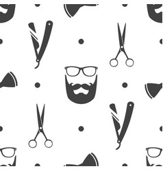 Seamless pattern with hipster beard vector
