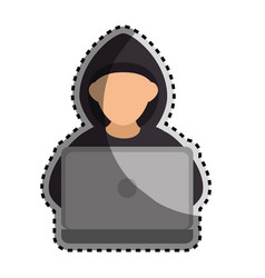 sticker color silhouette with hacker faceless and vector image