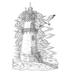 vintage light house with a gull vector image