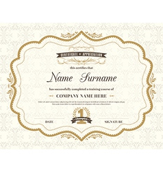 Vintage retro frame certificate background vector
