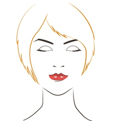 Women face with yellow hair vector