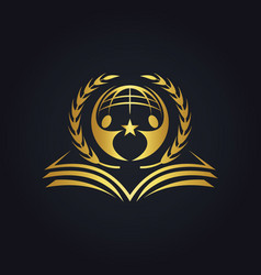 World book education people gold logo vector