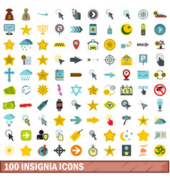 100 insignia icons set flat style vector