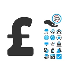 Pound sterling flat icon with bonus vector
